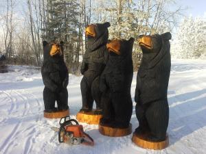 carved black bears